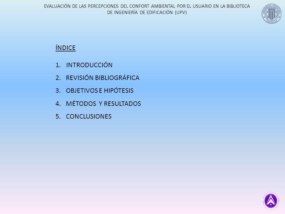 EVALUACIÓN DE LAS PERCEPCIONES DEL CONFORT AMBIENTAL POR EL USUARIO EN LA BIBLIOTECA DE INGENIERÍA DE EDIFICACIÓN (UPV) ÍNDICE 1.INTRODUCCIÓN 2.REVISIÓN BIBLIOGRAFICA 3.OBJETIVOS E HIPÓTESIS 4.MÉTODOS Y RESULTADOS 5.CONCLUSIONES BUENA BIBLIOTECA CONFORT TÉRMICO CORRELACIÓNNIVEL SIG.
