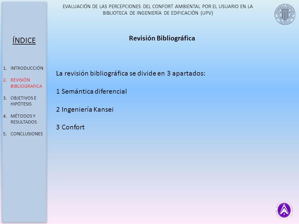 EVALUACIÓN DE LAS PERCEPCIONES DEL CONFORT AMBIENTAL POR EL USUARIO EN LA BIBLIOTECA DE INGENIERÍA DE EDIFICACIÓN (UPV) Desarrollo del trabajo de campo: ÍNDICE 1.INTRODUCCIÓN 2.REVISIÓN BIBLIOGRAFICA 3.OBJETIVOS E HIPÓTESIS 4.MÉTODOS Y RESULTADOS 5.CONCLUSIONES Análisis descriptivos de las variables de valoración global.