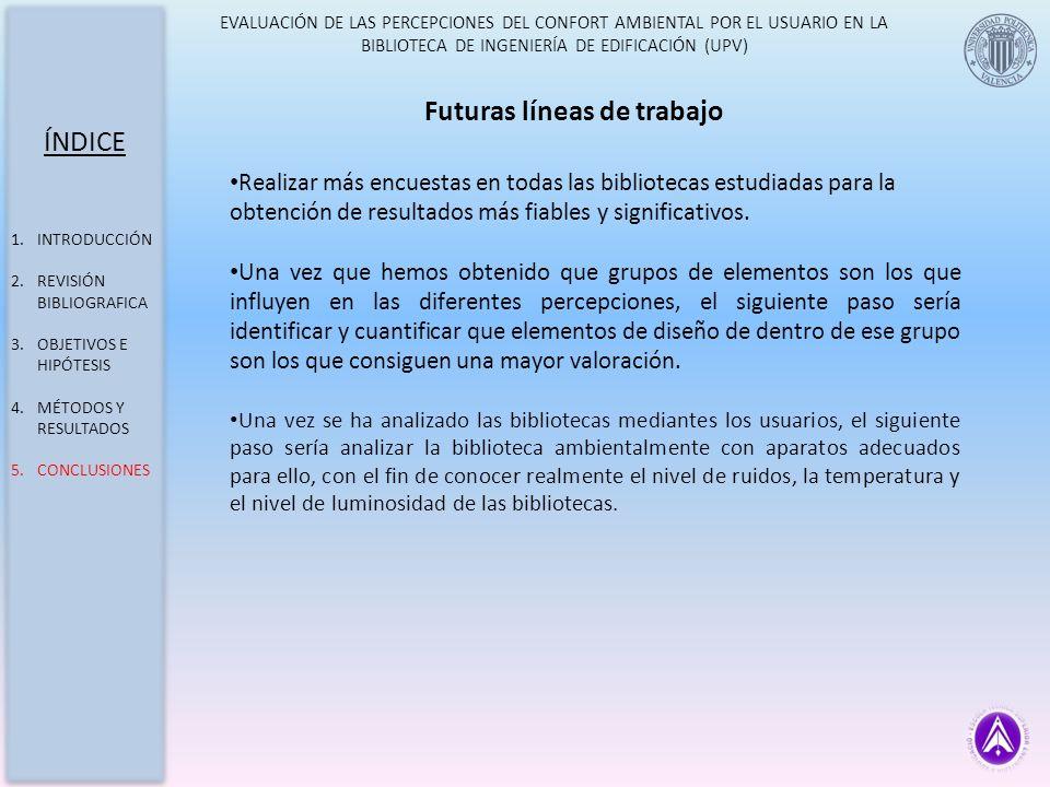 EVALUACIÓN DE LAS PERCEPCIONES DEL CONFORT AMBIENTAL POR EL USUARIO EN LA BIBLIOTECA DE INGENIERÍA DE EDIFICACIÓN (UPV) ÍNDICE 1.INTRODUCCIÓN 2.REVISI