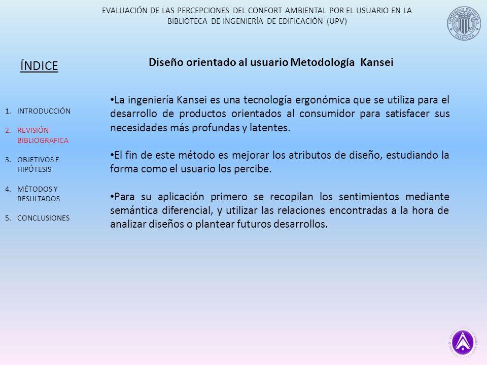 EVALUACIÓN DE LAS PERCEPCIONES DEL CONFORT AMBIENTAL POR EL USUARIO EN LA BIBLIOTECA DE INGENIERÍA DE EDIFICACIÓN (UPV) Percepciones obtenidas ÍNDICE 1.INTRODUCCIÓN 2.REVISIÓN BIBLIOGRAFICA 3.OBJETIVOS E HIPÓTESIS 4.MÉTODOS Y RESULTADOS 5.CONCLUSIONES UPV 1 Con buen diseño 2 Silenciosa y tranquila 3 Con buen servicio 4 Buena distribución y funcional 5 Con buena temperatura 6 Limpia y ordenada 7 Agradable y acogedora 8 Bien organizada y eficiente 9 Versátil 10 Con amplitud de horarios 11 Buena orientación 12 Fresca y ventilada 13 Sencilla y segura 14 Que permite relacionarse 15 Alegre y juvenil ETSIE 1 Practica y versátil 2 Silenciosa y tranquila 3 Con buen temperatura 4 Bonita y acogedora 5 Elegante e innovadora 6 Bien distribuida y e informatizada 7 Limpia y ordenada 8 Fresca 9 Concurrida 10 Buen servicio al usuario 11 Bien organizada