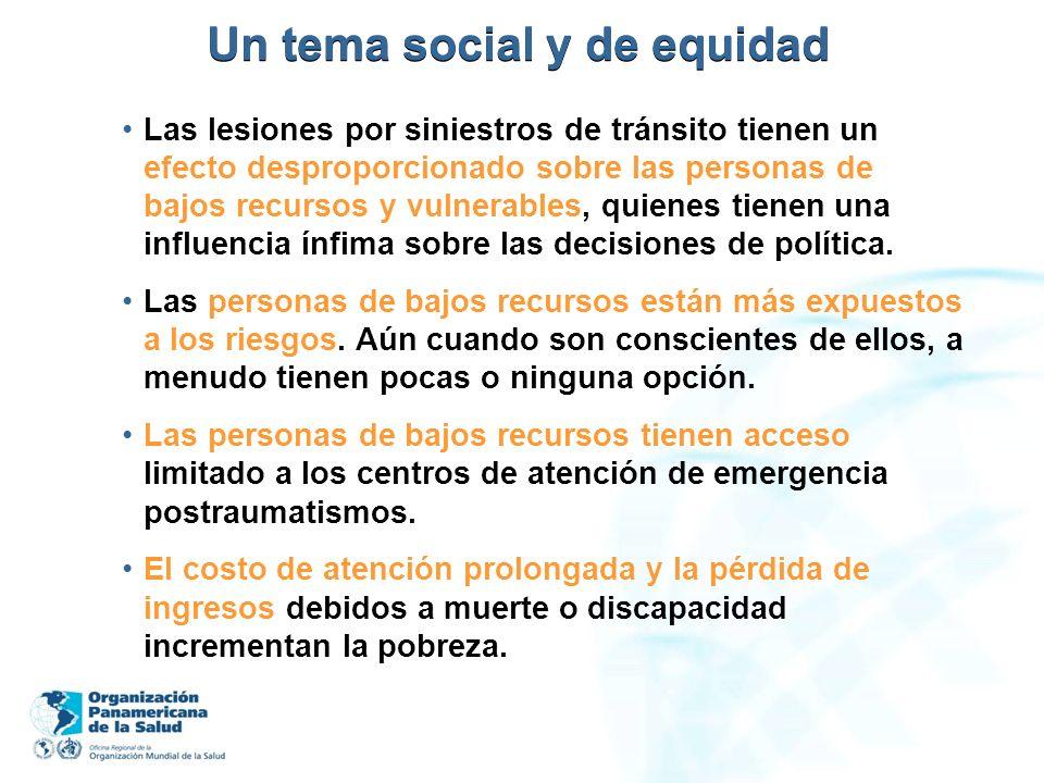 Un tema social y de equidad Las lesiones por siniestros de tránsito tienen un efecto desproporcionado sobre las personas de bajos recursos y vulnerabl