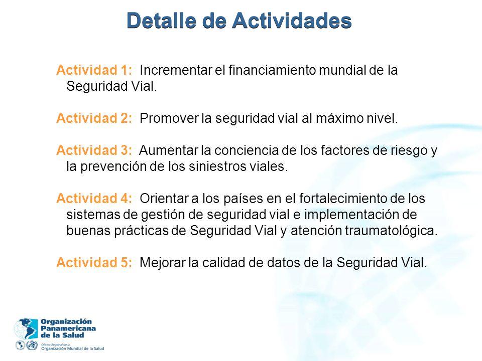 Detalle de Actividades Actividad 1: Incrementar el financiamiento mundial de la Seguridad Vial. Actividad 2: Promover la seguridad vial al máximo nive