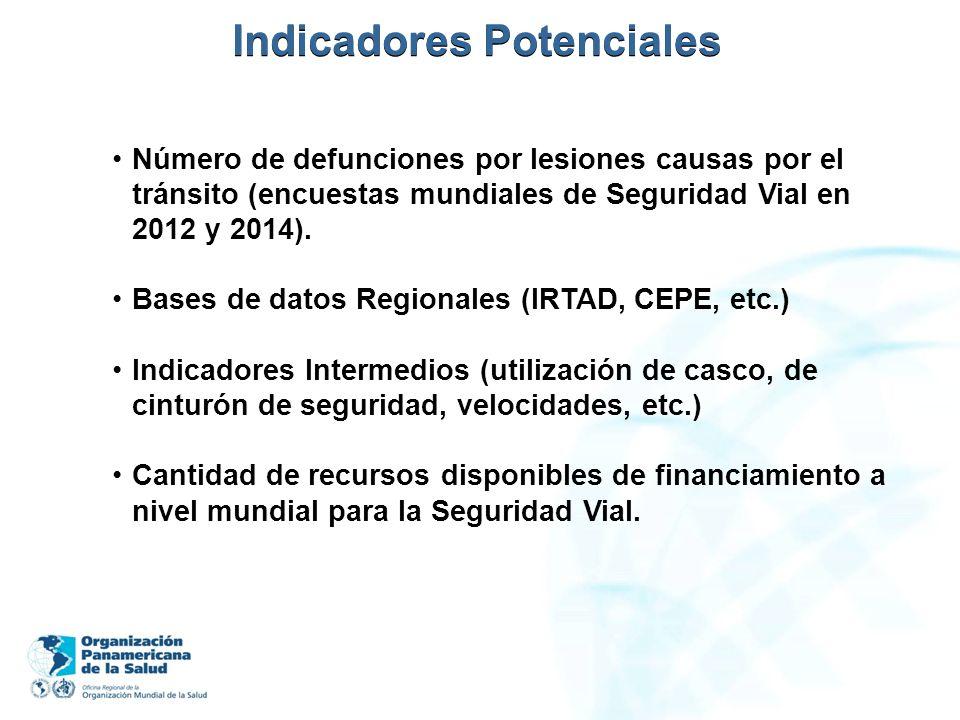 Indicadores Potenciales Número de defunciones por lesiones causas por el tránsito (encuestas mundiales de Seguridad Vial en 2012 y 2014). Bases de dat