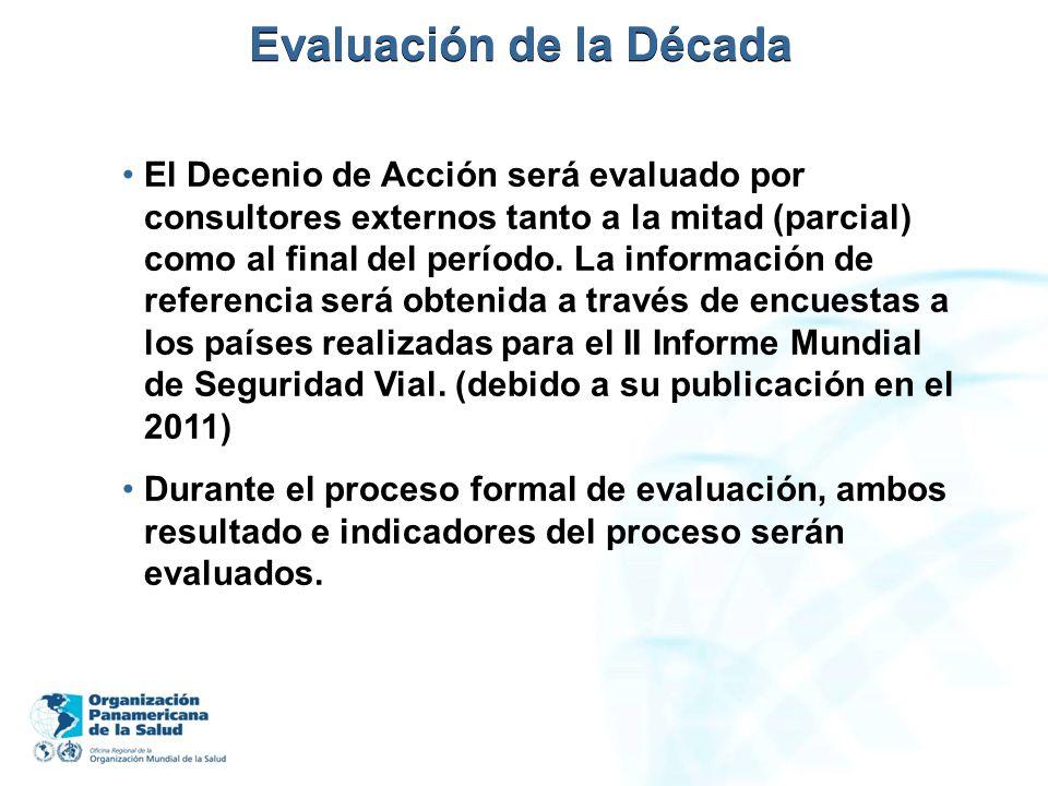 Evaluación de la Década El Decenio de Acción será evaluado por consultores externos tanto a la mitad (parcial) como al final del período. La informaci