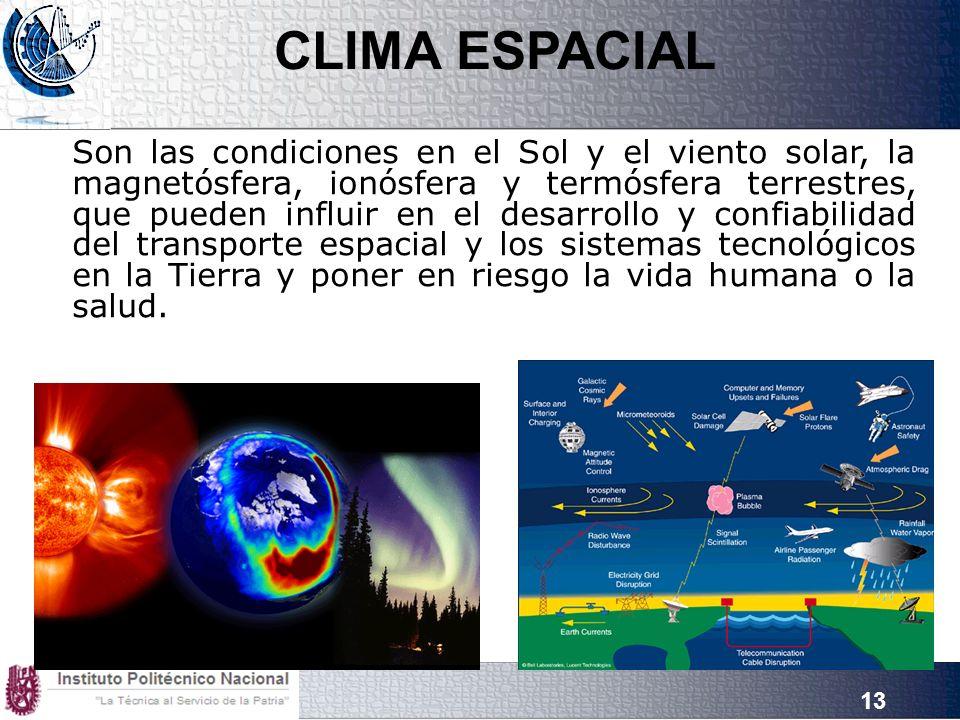 13 Son las condiciones en el Sol y el viento solar, la magnetósfera, ionósfera y termósfera terrestres, que pueden influir en el desarrollo y confiabilidad del transporte espacial y los sistemas tecnológicos en la Tierra y poner en riesgo la vida humana o la salud.