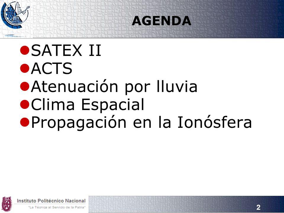 2 AGENDA SATEX II ACTS Atenuación por lluvia Clima Espacial Propagación en la Ionósfera