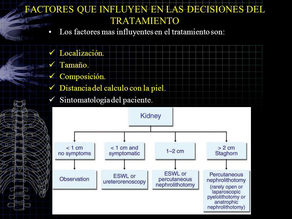 FACTORES QUE INFLUYEN EN LAS DECISIONES DEL TRATAMIENTO Los factores mas influyentes en el tratamiento son: Localización. Tamaño. Composición. Distanc