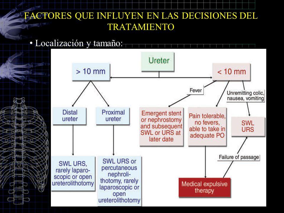FACTORES QUE INFLUYEN EN LAS DECISIONES DEL TRATAMIENTO Localización y tamaño: