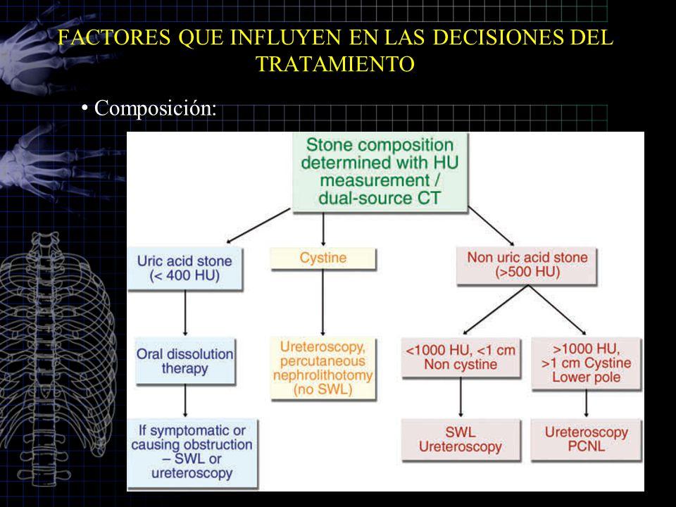 FACTORES QUE INFLUYEN EN LAS DECISIONES DEL TRATAMIENTO Composición:
