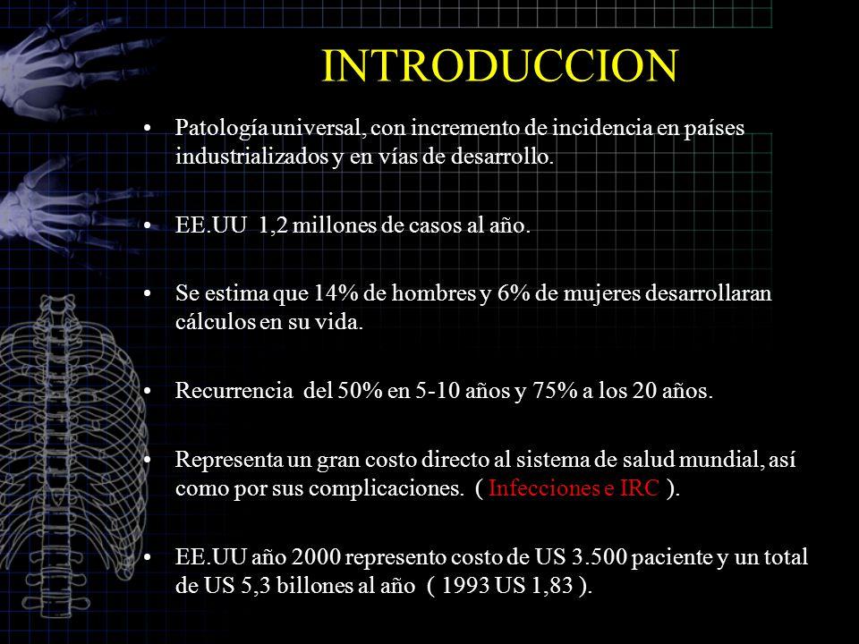 INTRODUCCION Patología universal, con incremento de incidencia en países industrializados y en vías de desarrollo. EE.UU 1,2 millones de casos al año.
