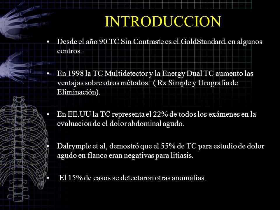 INTRODUCCION Desde el año 90 TC Sin Contraste es el GoldStandard, en algunos centros. En 1998 la TC Multidetector y la Energy Dual TC aumento las vent