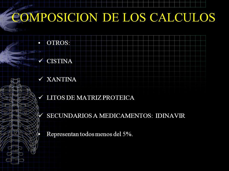 COMPOSICION DE LOS CALCULOS OTROS: CISTINA XANTINA LITOS DE MATRIZ PROTEICA SECUNDARIOS A MEDICAMENTOS: IDINAVIR Representan todos menos del 5%.