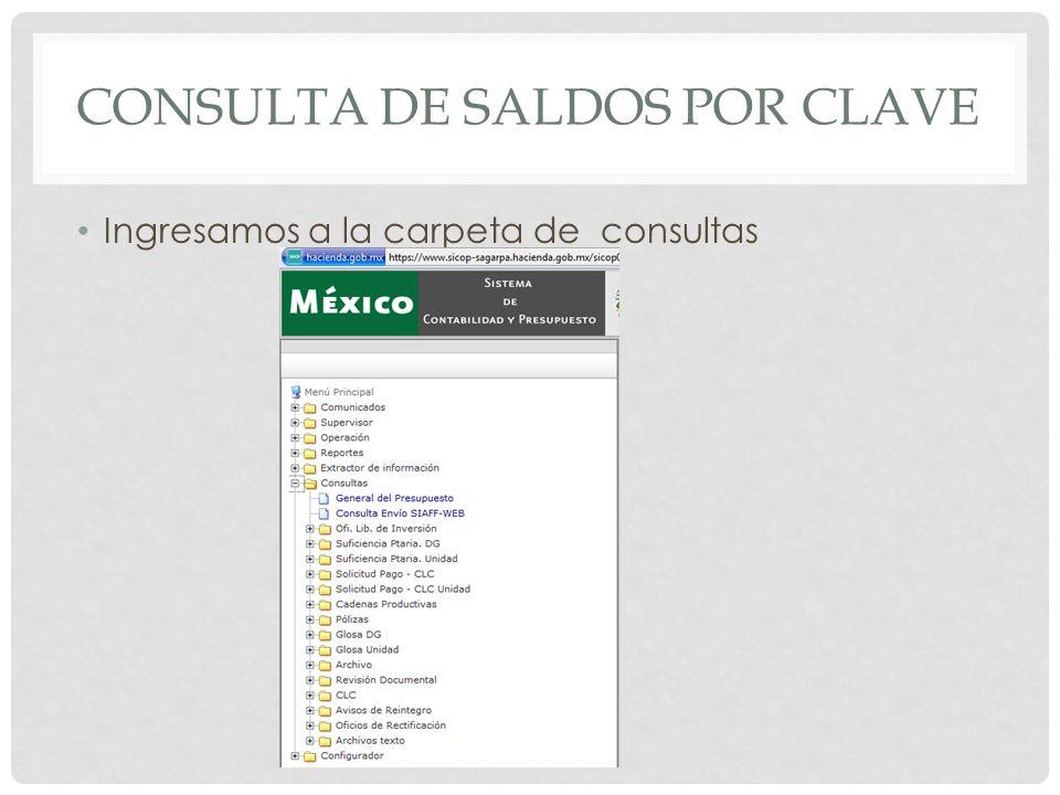 CONSULTA DE SALDOS POR CLAVE Elegimos la hoja en Blanco con el nombre de General del presupuesto.