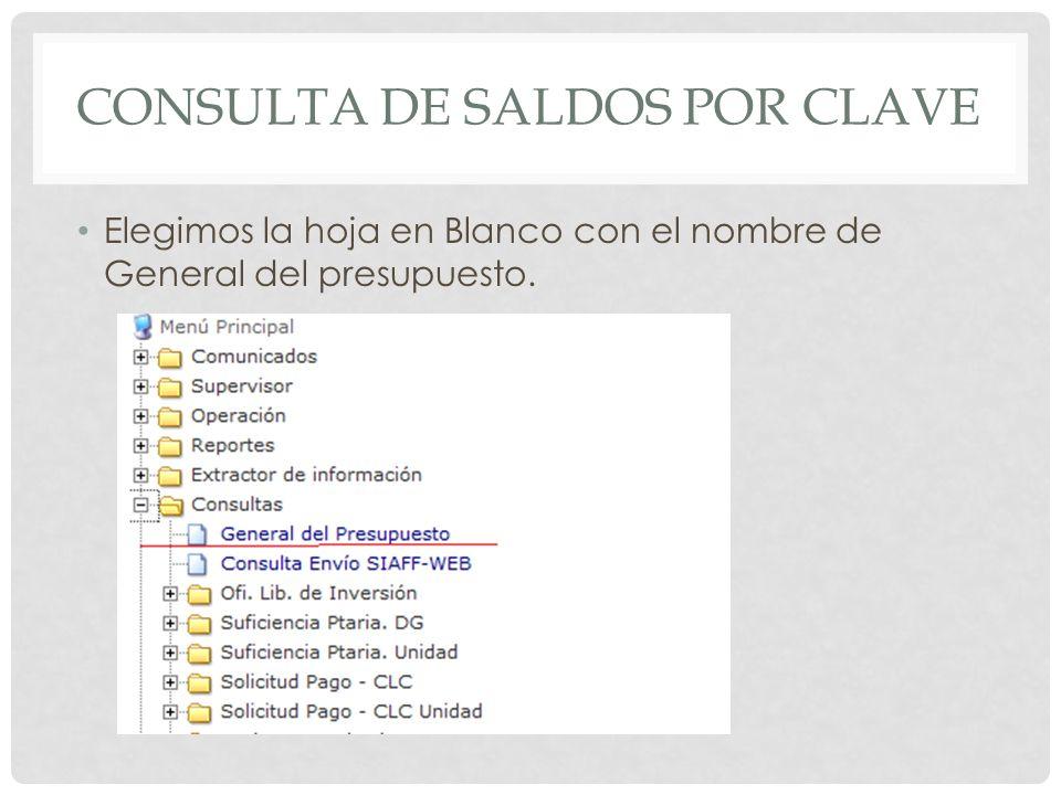 CONSULTA DE SALDOS POR CLAVE Nos enviara a la siguiente pantalla en la cual llenaremos con los datos de la clave a consultar como unidad y partida.