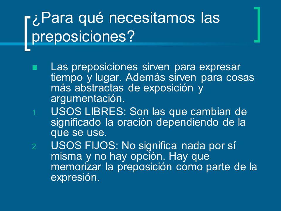 ¿Para qué necesitamos las preposiciones.Las preposiciones sirven para expresar tiempo y lugar.