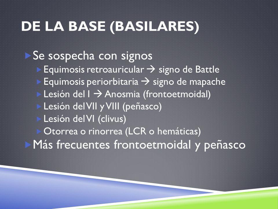 DE LA BASE (BASILARES) Se sospecha con signos Equimosis retroauricular signo de Battle Equimosis periorbitaria signo de mapache Lesión del I Anosmia (