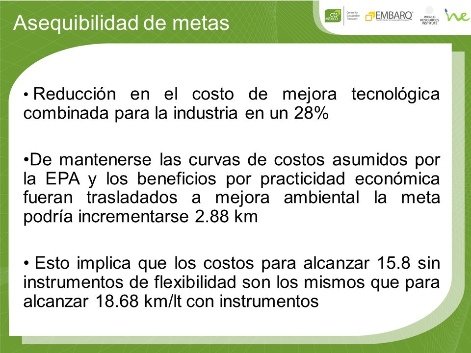 Asequibilidad de metas Reducción en el costo de mejora tecnológica combinada para la industria en un 28% De mantenerse las curvas de costos asumidos p