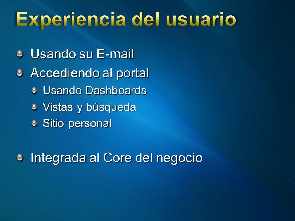 Usando su E-mail Accediendo al portal Usando Dashboards Vistas y búsqueda Sitio personal Integrada al Core del negocio