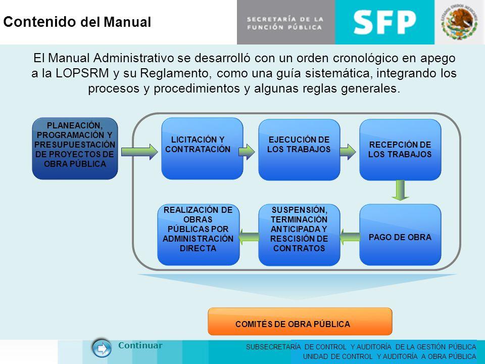 SUBSECRETARÍA DE CONTROL Y AUDITORÍA DE LA GESTIÓN PÚBLICA UNIDAD DE CONTROL Y AUDITORÍA A OBRA PÚBLICA Contenido del Manual LICITACIÓN Y CONTRATACIÓN PLANEACIÓN, PROGRAMACIÓN Y PRESUPUESTACIÓN DE PROYECTOS DE OBRA PÚBLICA EJECUCIÓN DE LOS TRABAJOS RECEPCIÓN DE LOS TRABAJOS PAGO DE OBRA REALIZACIÓN DE OBRAS PÚBLICAS POR ADMINISTRACIÓN DIRECTA SUSPENSIÓN, TERMINACIÓN ANTICIPADA Y RESCISIÓN DE CONTRATOS COMITÉS DE OBRA PÚBLICA Continuar El Manual Administrativo se desarrolló con un orden cronológico en apego a la LOPSRM y su Reglamento, como una guía sistemática, integrando los procesos y procedimientos y algunas reglas generales.