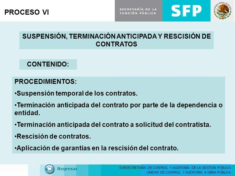 SUBSECRETARÍA DE CONTROL Y AUDITORÍA DE LA GESTIÓN PÚBLICA UNIDAD DE CONTROL Y AUDITORÍA A OBRA PÚBLICA PROCESO VI SUSPENSIÓN, TERMINACIÓN ANTICIPADA Y RESCISIÓN DE CONTRATOS CONTENIDO: Regresar PROCEDIMIENTOS: Suspensión temporal de los contratos.