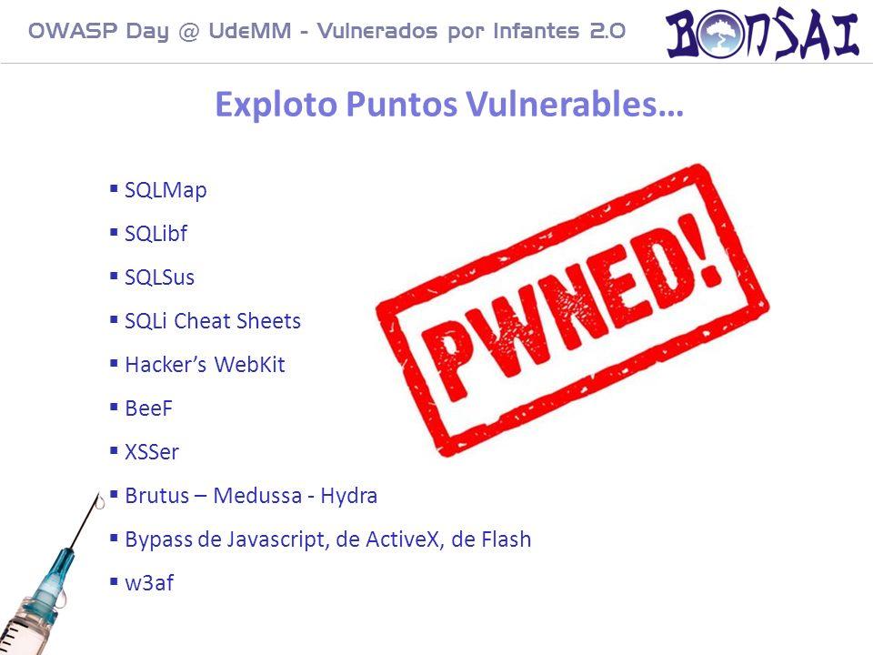 15 OWASP Day @ UdeMM - Vulnerados por Infantes 2.0 SQLMap SQLibf SQLSus SQLi Cheat Sheets Hackers WebKit BeeF XSSer Brutus – Medussa - Hydra Bypass de