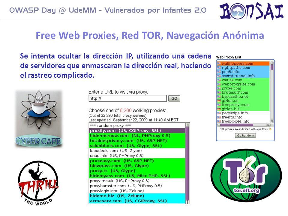 25 OWASP Day @ UdeMM - Vulnerados por Infantes 2.0 Free Web Proxies, Red TOR, Navegación Anónima Se intenta ocultar la dirección IP, utilizando una ca