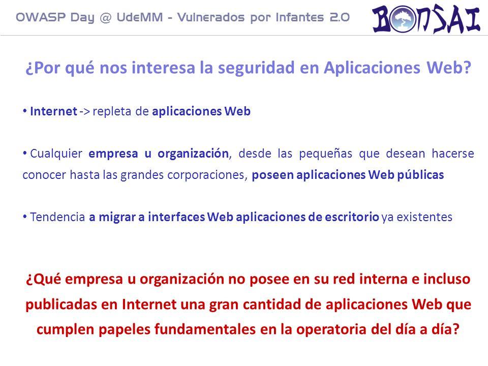 6 ¿Por qué nos interesa la seguridad en Aplicaciones Web? Internet -> repleta de aplicaciones Web Cualquier empresa u organización, desde las pequeñas