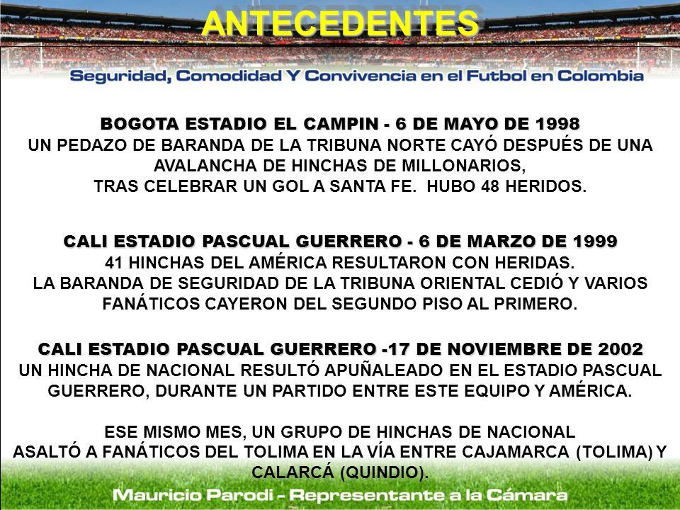 BOGOTA ESTADIO EL CAMPIN - 6 DE MAYO DE 1998 UN PEDAZO DE BARANDA DE LA TRIBUNA NORTE CAYÓ DESPUÉS DE UNA AVALANCHA DE HINCHAS DE MILLONARIOS, TRAS CE