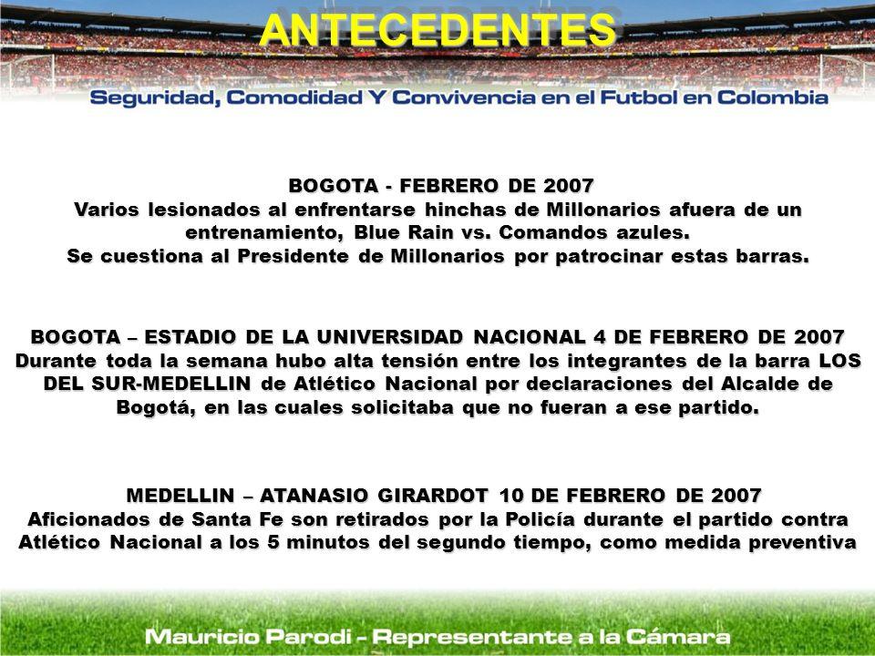 ANTECEDENTESANTECEDENTES MEDELLIN – ATANASIO GIRARDOT 10 DE FEBRERO DE 2007 MEDELLIN – ATANASIO GIRARDOT 10 DE FEBRERO DE 2007 Aficionados de Santa Fe