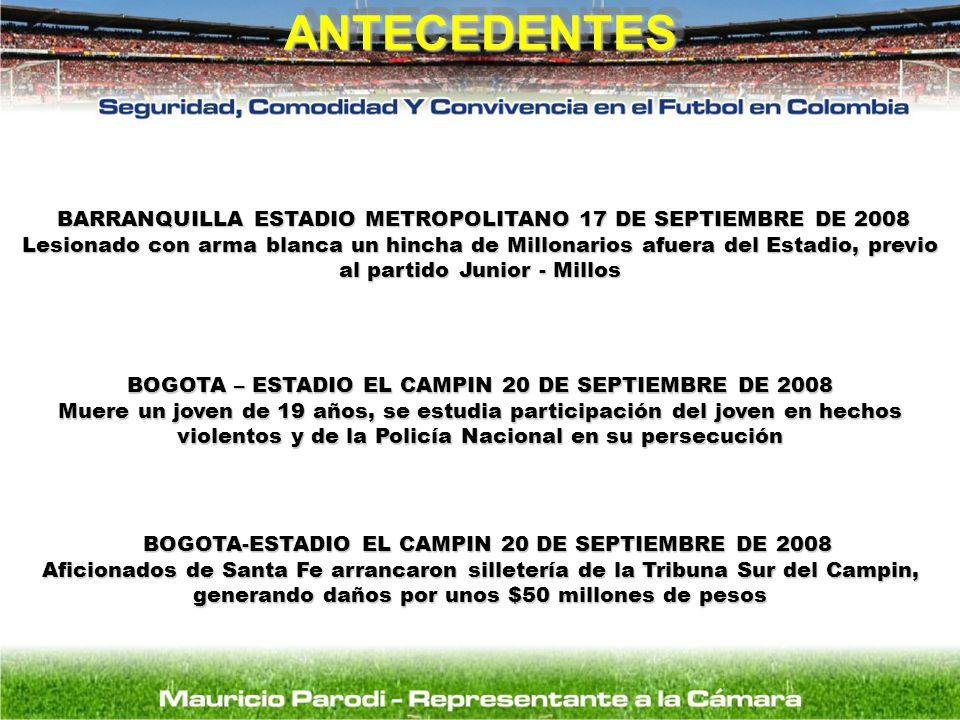 ANTECEDENTESANTECEDENTES BOGOTA-ESTADIO EL CAMPIN 20 DE SEPTIEMBRE DE 2008 BOGOTA-ESTADIO EL CAMPIN 20 DE SEPTIEMBRE DE 2008 Aficionados de Santa Fe a