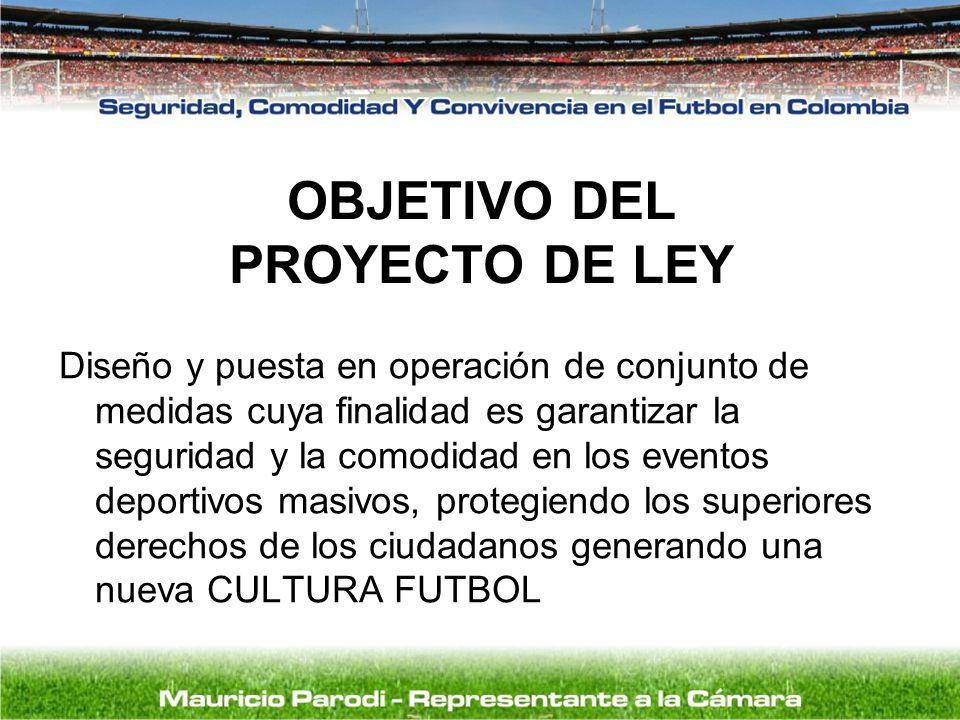 OBJETIVO DEL PROYECTO DE LEY Diseño y puesta en operación de conjunto de medidas cuya finalidad es garantizar la seguridad y la comodidad en los event