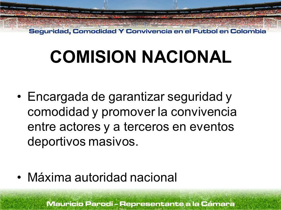 COMISION NACIONAL Encargada de garantizar seguridad y comodidad y promover la convivencia entre actores y a terceros en eventos deportivos masivos. Má