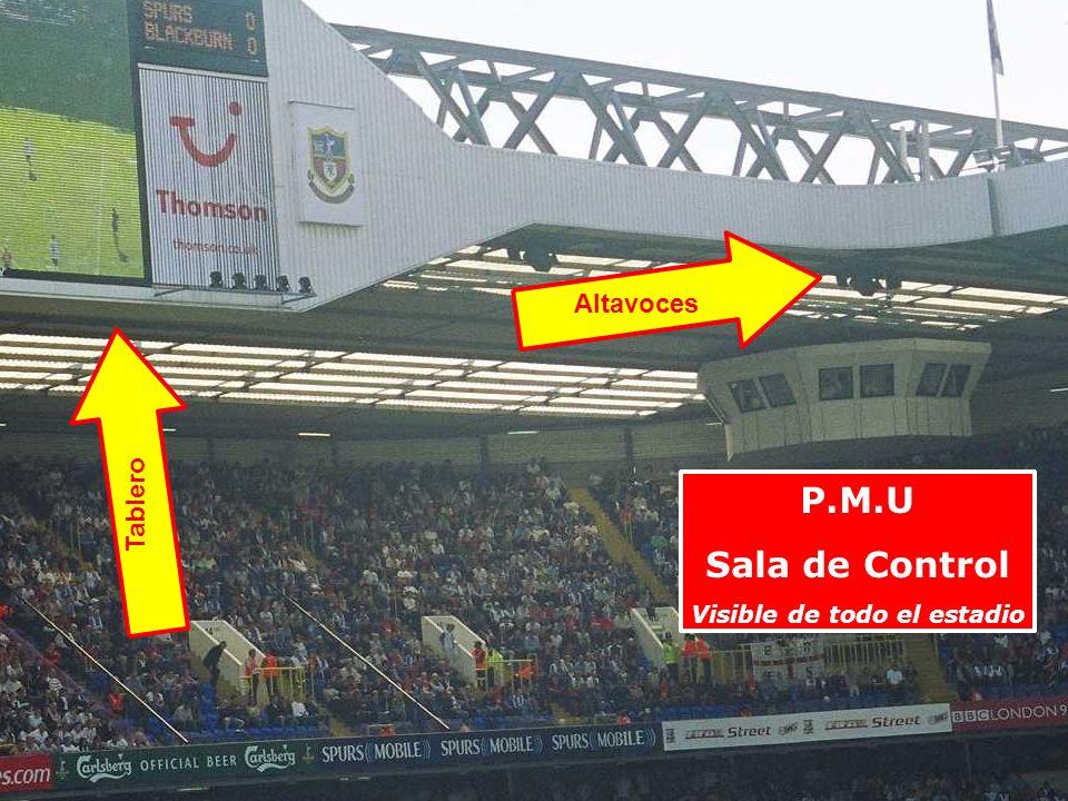 P.M.U Sala de Control Visible de todo el estadio Altavoces Tablero
