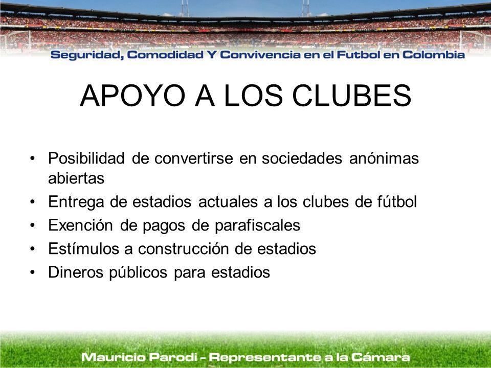 APOYO A LOS CLUBES Posibilidad de convertirse en sociedades anónimas abiertas Entrega de estadios actuales a los clubes de fútbol Exención de pagos de