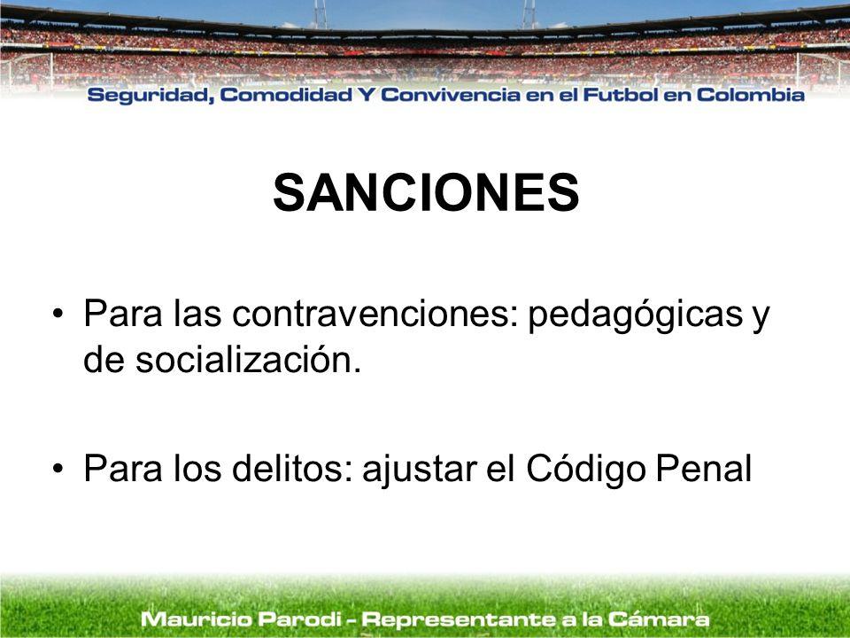 SANCIONES Para las contravenciones: pedagógicas y de socialización. Para los delitos: ajustar el Código Penal