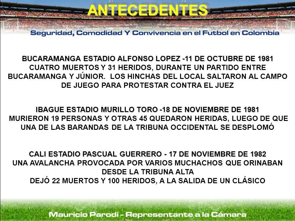 BUCARAMANGA ESTADIO ALFONSO LOPEZ -11 DE OCTUBRE DE 1981 CUATRO MUERTOS Y 31 HERIDOS, DURANTE UN PARTIDO ENTRE BUCARAMANGA Y JÚNIOR. LOS HINCHAS DEL L