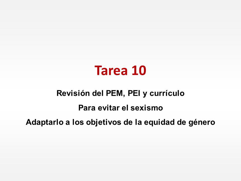 Revisión del PEM, PEI y currículo Para evitar el sexismo Adaptarlo a los objetivos de la equidad de género Tarea 10