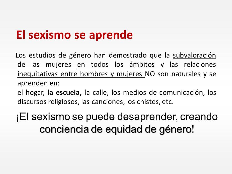 Los estudios de género han demostrado que la subvaloración de las mujeres en todos los ámbitos y las relaciones inequitativas entre hombres y mujeres