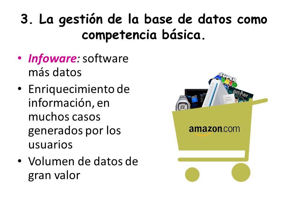 3. La gestión de la base de datos como competencia básica. Infoware: software más datos Enriquecimiento de información, en muchos casos generados por