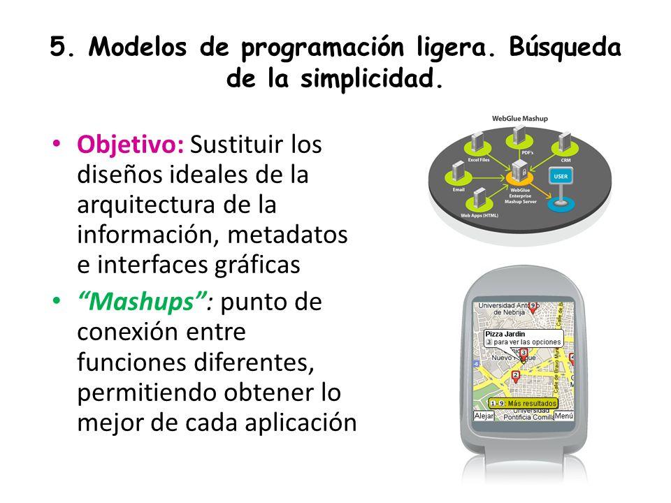 5. Modelos de programación ligera. Búsqueda de la simplicidad. Objetivo: Sustituir los diseños ideales de la arquitectura de la información, metadatos