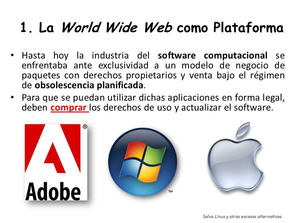 1. La World Wide Web como Plataforma Hasta hoy la industria del software computacional se enfrentaba ante exclusividad a un modelo de negocio de paque