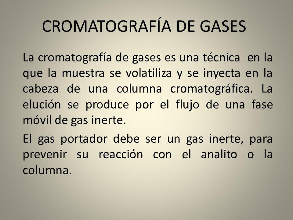 CROMATOGRAFÍA DE GASES La cromatografía de gases es una técnica en la que la muestra se volatiliza y se inyecta en la cabeza de una columna cromatográ