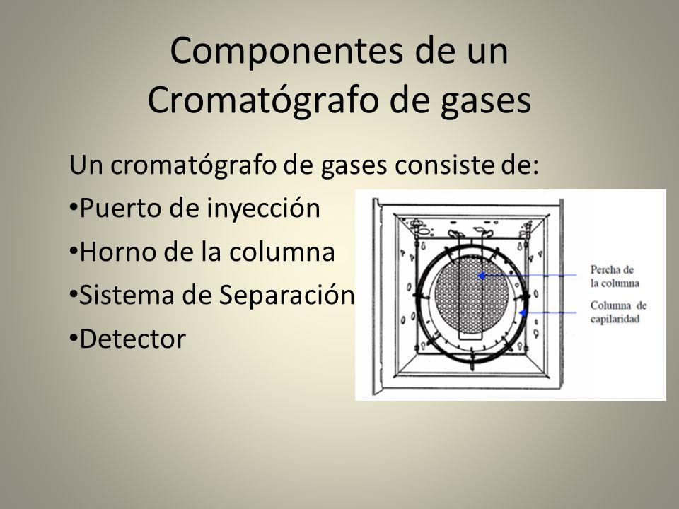 Componentes de un Cromatógrafo de gases Un cromatógrafo de gases consiste de: Puerto de inyección Horno de la columna Sistema de Separación Detector