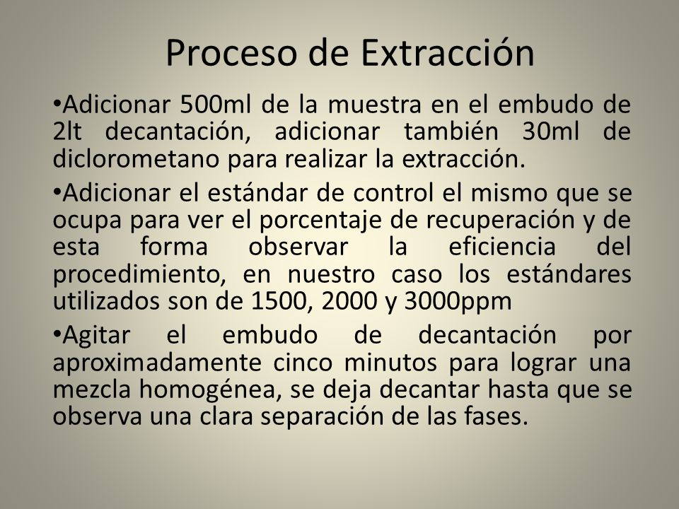 Proceso de Extracción Adicionar 500ml de la muestra en el embudo de 2lt decantación, adicionar también 30ml de diclorometano para realizar la extracci