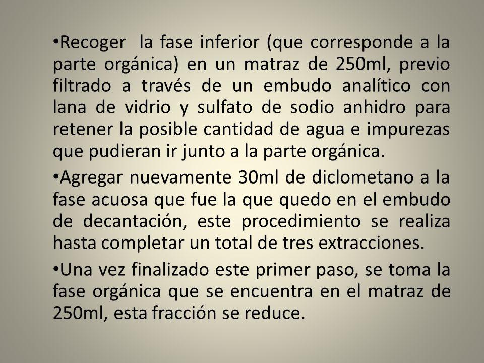 Recoger la fase inferior (que corresponde a la parte orgánica) en un matraz de 250ml, previo filtrado a través de un embudo analítico con lana de vidr