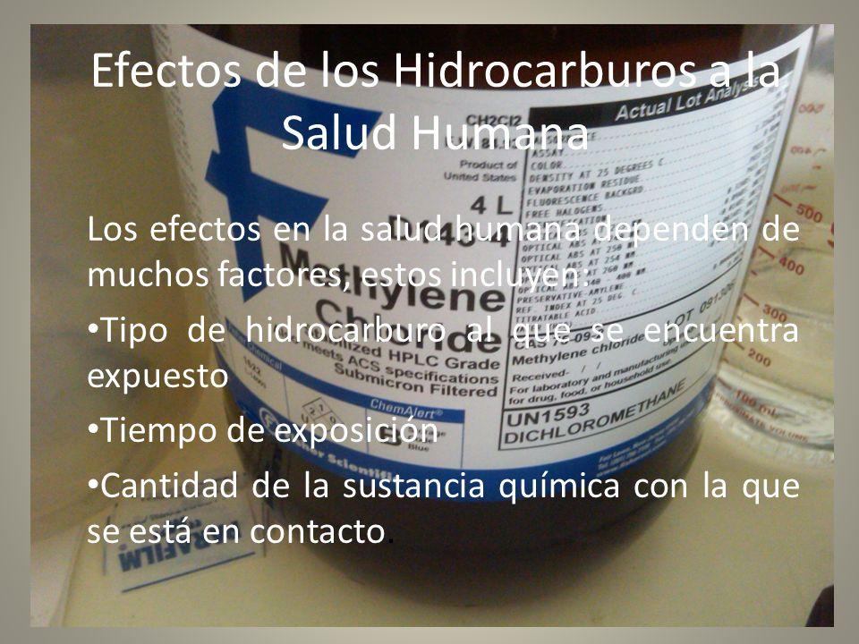 Efectos de los Hidrocarburos a la Salud Humana Los efectos en la salud humana dependen de muchos factores, estos incluyen: Tipo de hidrocarburo al que