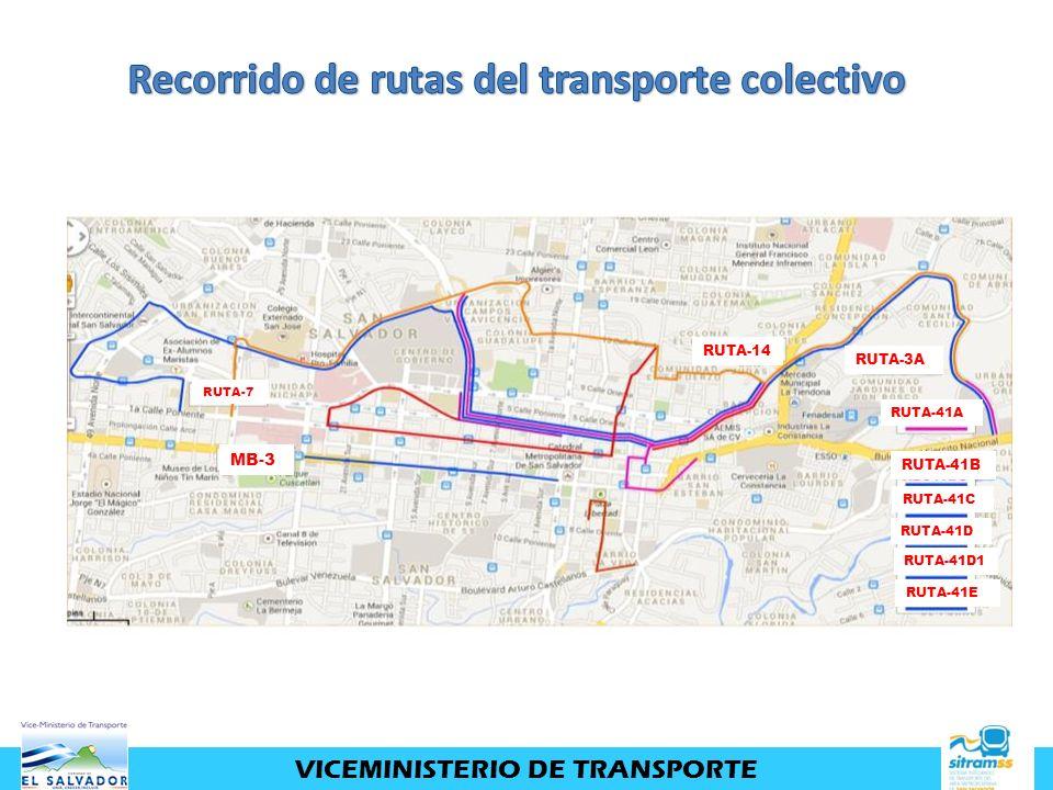VICEMINISTERIO DE TRANSPORTE MB-3 RUTA-14 RUTA-3A RUTA-41A RUTA-41B RUTA-41C RUTA-41D RUTA-41D1 RUTA-41E RUTA-7