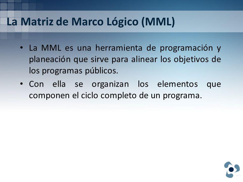 La Matriz de Marco Lógico (MML) La MML es una herramienta de programación y planeación que sirve para alinear los objetivos de los programas públicos.