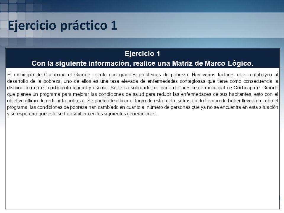 Ejercicio práctico 1 Ejercicio 1 Con la siguiente información, realice una Matriz de Marco Lógico. El municipio de Cochoapa el Grande cuenta con grand