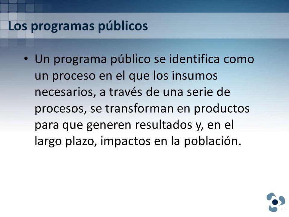 Los programas públicos Un programa público se identifica como un proceso en el que los insumos necesarios, a través de una serie de procesos, se trans